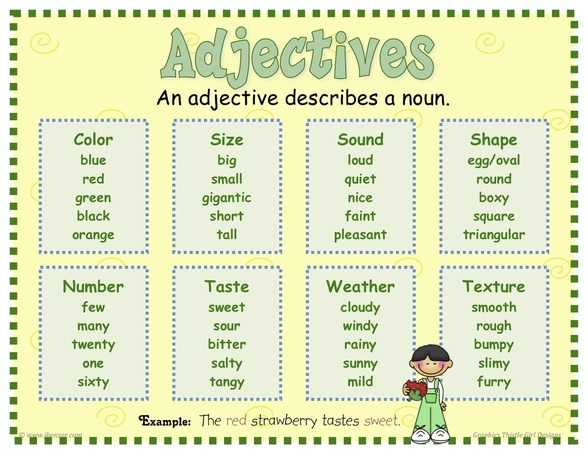Worksheets Adjective For Kids adjectives mrs warners 4th grade classroom are words that describe a noun