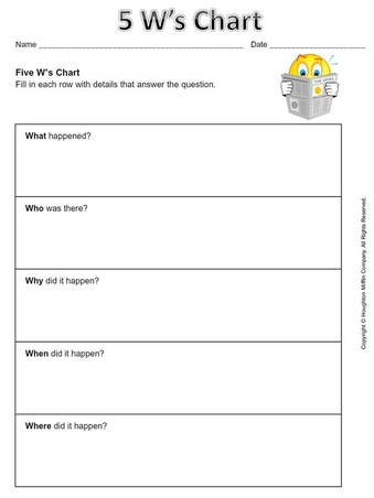 The 5 W'-s and How Free Printable Worksheet | Printables ...