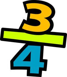 Image of the fraction 3/4ths.