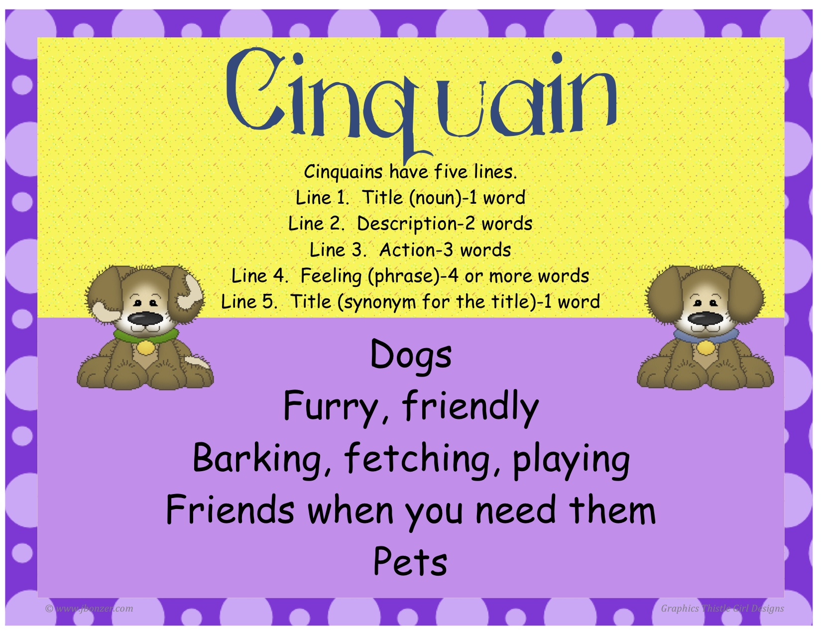 cinquain poem The cinquain, also known as a quintain or quintet, is a poem or stanza composed  of five lines the most common cinquains in english follow a rhyme scheme of.